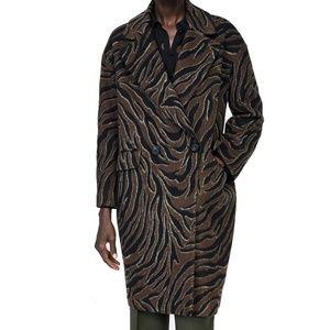 ZARA Animal Print Wool Blend Coat